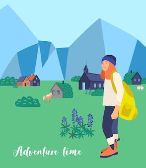 Bergwandelen platte vectorillustratie. vrouwelijke toeristische stripfiguur. zwervende vrouw. tour naar het buitenland, reis rond de wereld, buitenland bezoeken. reizen, uitjes, avontuur.
