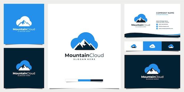 Bergwolk logo ontwerp icoon met sjabloon voor visitekaartjes
