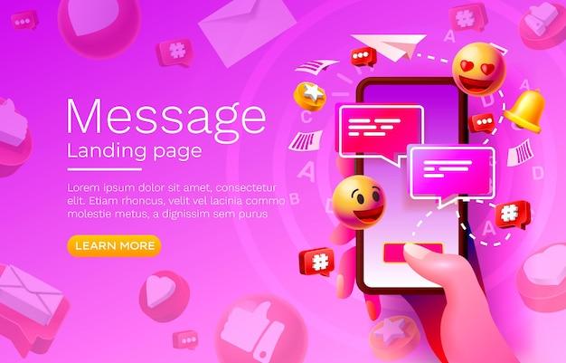 Bericht met veel pictogrammen chatten voor communicatie van mensen bestemmingspagina vector