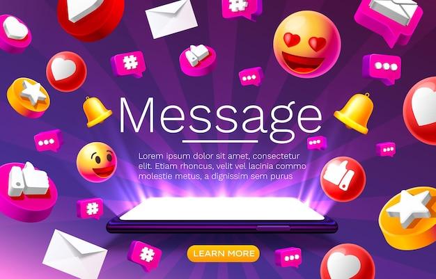 Bericht met veel pictogrammen chatten voor communicatie van mensen op de bestemmingspagina vector