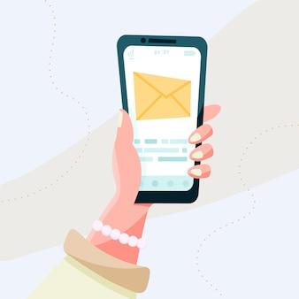 Bericht op het scherm van de smartphone. sociaal netwerken concept. vector platte cartoonillustratie voor het ontwerpen van websites en banners