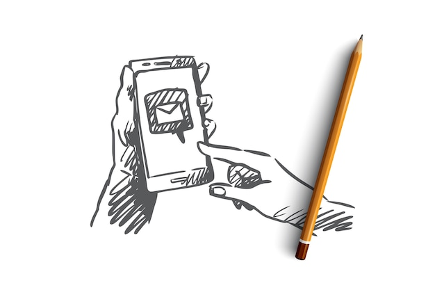 Berichten, mail, smartphone, verbinden, internetconcept. hand getekende smartphone in menselijke handen met symbool van mail verzonden concept schets.
