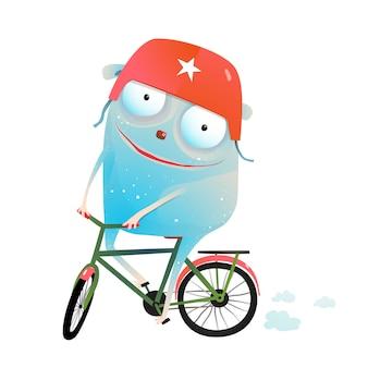 Berijdende fietsmonster met helm