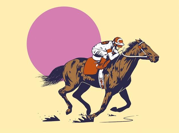 Berijdende paard illustratie