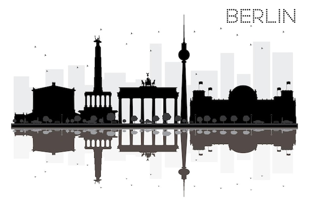 Berlin city skyline zwart-wit silhouet met reflecties. vector illustratie. eenvoudig plat concept voor toeristische presentatie, banner, plakkaat of website. stadsgezicht met beroemde bezienswaardigheden