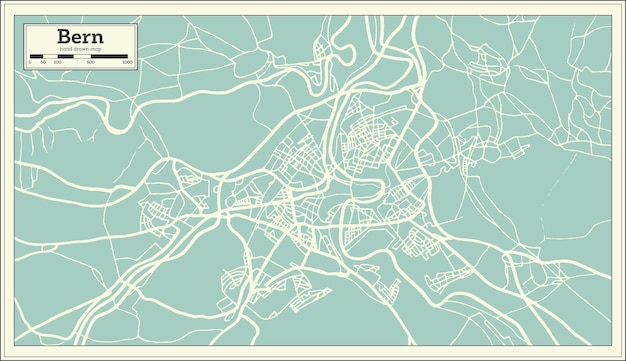 Bern zwitserland kaart in retro stijl. vectorillustratie. overzicht kaart.