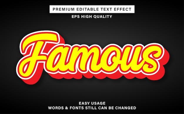 Beroemd belettering bewerkbaar teksteffect