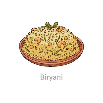 Beroemd gerecht biryani. kom met plov van rijst, kip en kruiden.