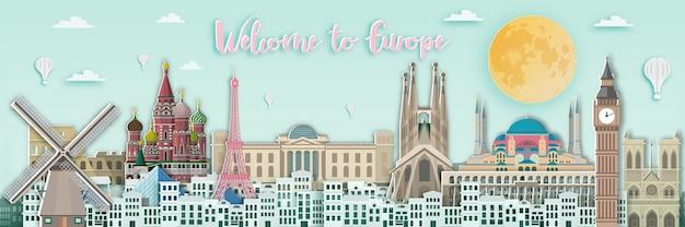 Beroemd oriëntatiepunt voor de reiskaart van europa in document kunststijl.