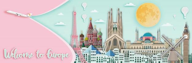 Beroemd oriëntatiepunt voor reiskaart in europa