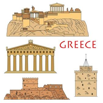 Beroemde architectonische erfgoed van griekenland icoon met gekleurde lineaire akropolis van athene met tempel van de godin athena parthenon