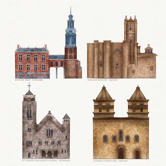 Beroemde architectonische monumenten set