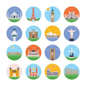 Beroemde architectuur plat pictogrammen