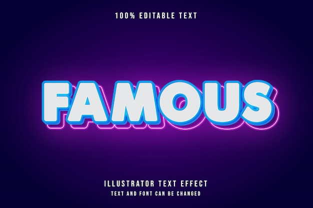 Beroemde, bewerkbare teksteffect blauwe gradatie roze neon moderne stijl