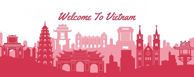 Beroemde bezienswaardigheid van vietnam banner