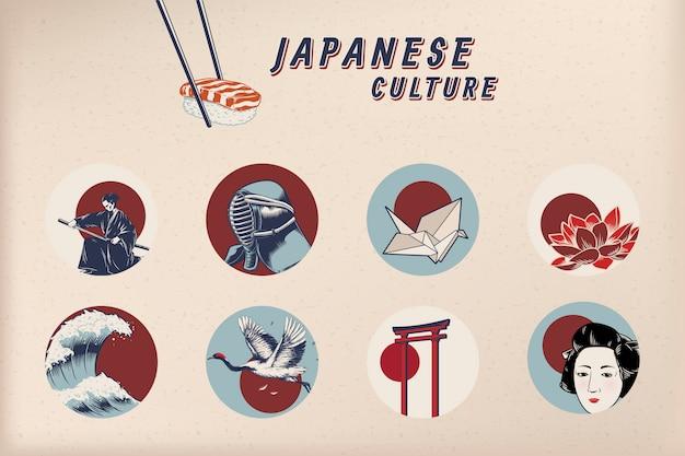 Beroemde japanse culturele pictogrammen