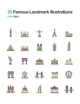 Beroemde landschaps kleur illustraties