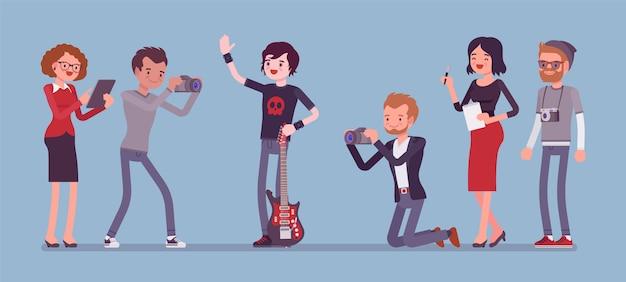 Beroemde rockstar en journalistenbanner