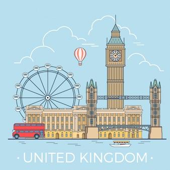 Beroemde showplaces van het verenigd koninkrijk.