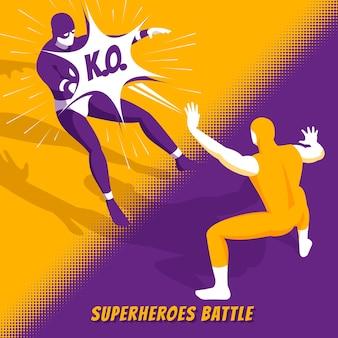Beroemde superheldenfilmpersonages vechten in een nieuwe computervideogame en vechten tegen isometrisch oranje