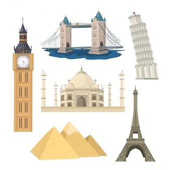 Beroemde wereld monumenten illustratie