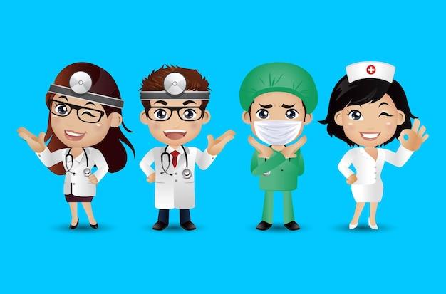 Beroep arts met verschillende poses