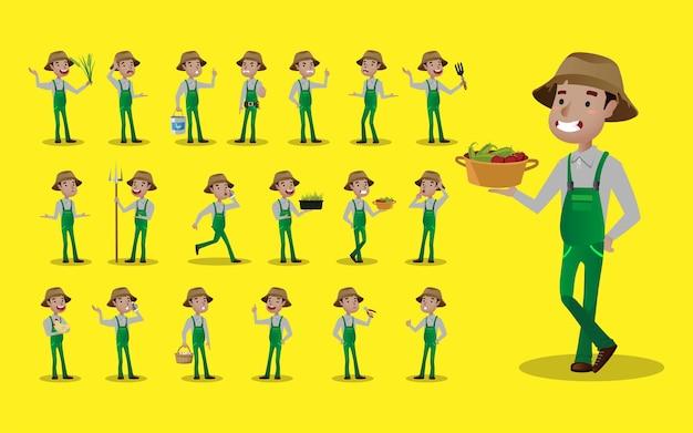 Beroep boer met verschillende pose