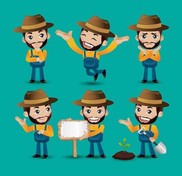 Beroep boer met verschillende poses