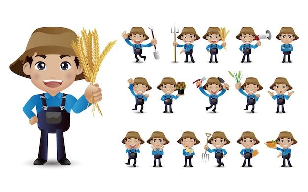 Beroep - boer met verschillende poses