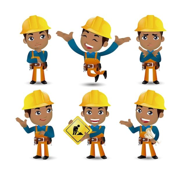 Beroep - bouwer. werknemer. ingenieur met verschillende poses