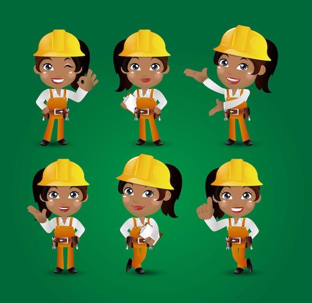 Beroep bouwer werknemer ingenieur met verschillende poses