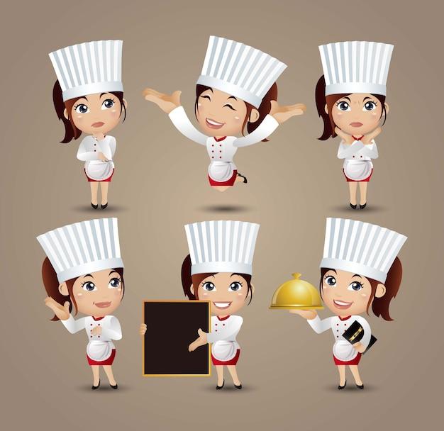 Beroep - chef-kok met verschillende poses
