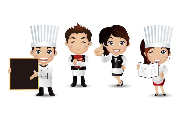 Beroep chef-kok met verschillende poses