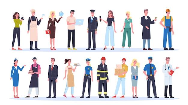 Beroep ingesteld. verzameling van beroep, mannelijke en vrouwelijke werknemer in het uniform. dokter, ingenieur, brandweerman en leraar. illustratie in cartoon-stijl