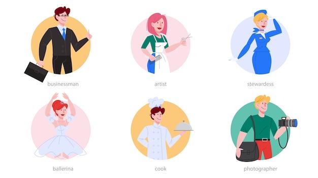 Beroep ingesteld. verzameling van beroep, mannelijke en vrouwelijke werknemer in het uniform. zakenman, fotograaf, ballerina, chef, kapper, stewardess. illustratie