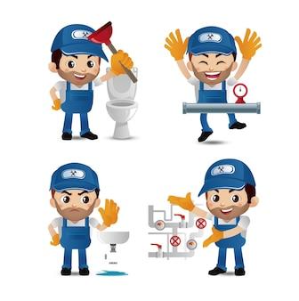 Beroep loodgieter met verschillende poses