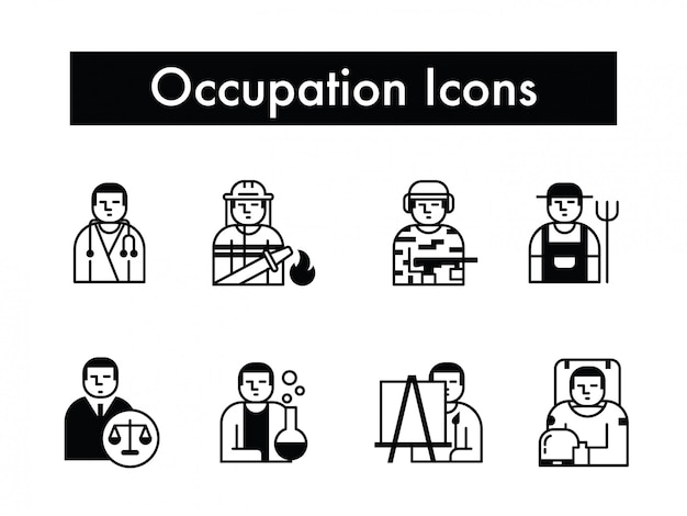 Beroep of baan of beroep icon set vector