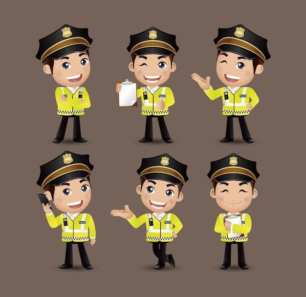 Beroep - politieagent met verschillende poses