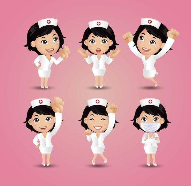 Beroep - verpleegster met verschillende poses