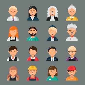 Beroepen avatars. zakenman arts leraar kapper kok beroep werknemers groep collega's portretten vlakke stijl