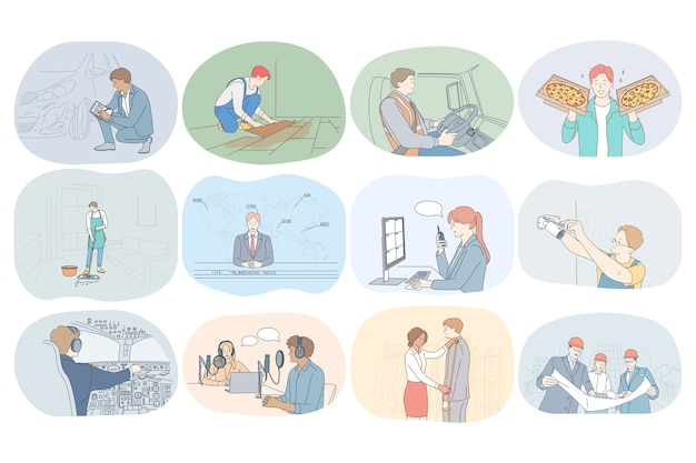 Beroepen, beroep, werk, baan, specialisten, arbeid, bedrijfsconcept.