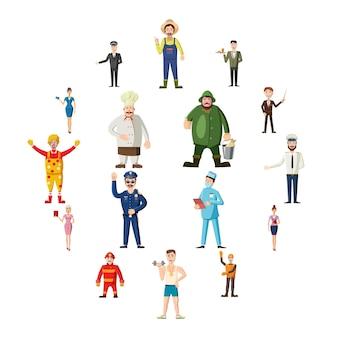 Beroepen iconen set, cartoon stijl