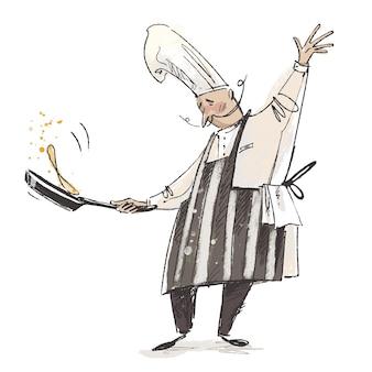 Beroepen schets van een bakker die pannenkoeken maakt cartoon met de hand getekend