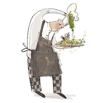 Beroepenschets van een chef-kok die saladeschotel met olijfolieillustratie besprenkelt