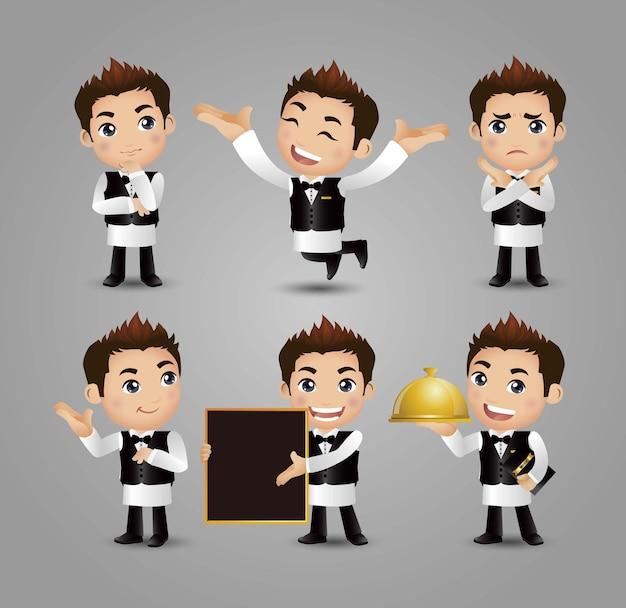 Beroepsserver met verschillende poses