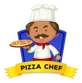 Beroepswoordkaart met de chef-kok van de woordpizza
