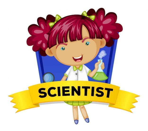 Beroepswoordkaart met vrouwelijke wetenschapper