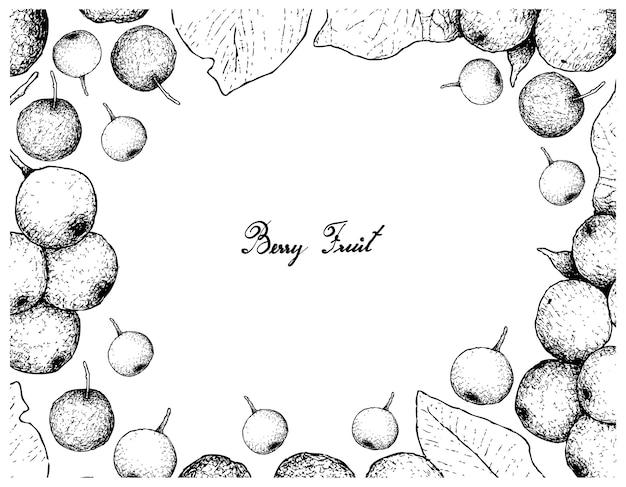 Berry fruit illustratie frame van hand getrokken schets