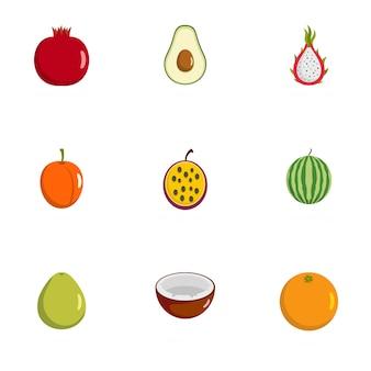 Berry iconen set, vlakke stijl