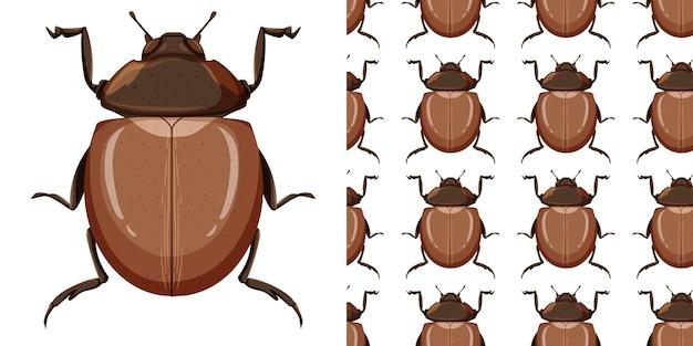 Bertle insect en naadloos patroon